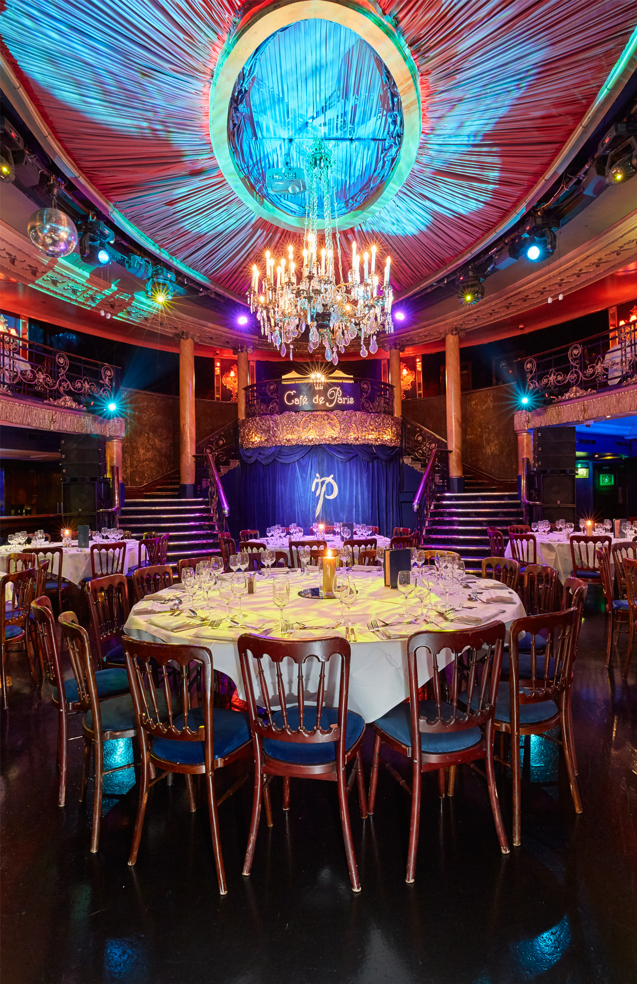 Cafe de Paris table and stage