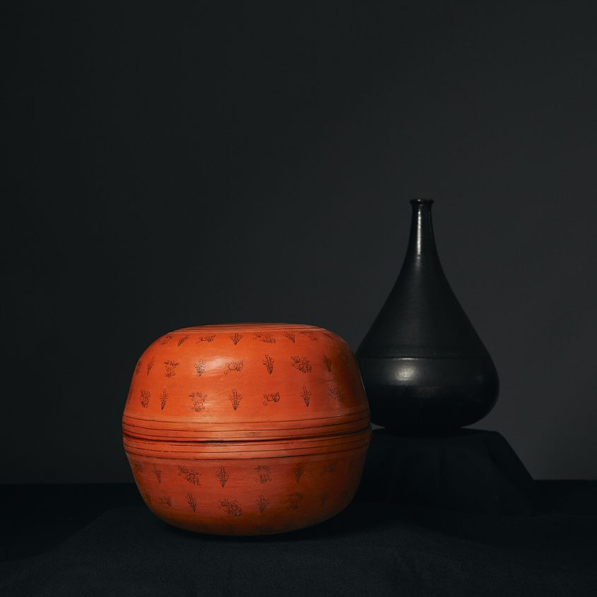 lacquerware orange pot
