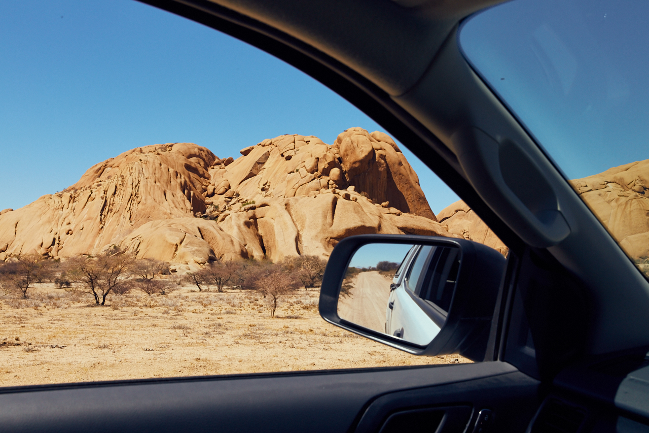 Mountain and rear view mirror