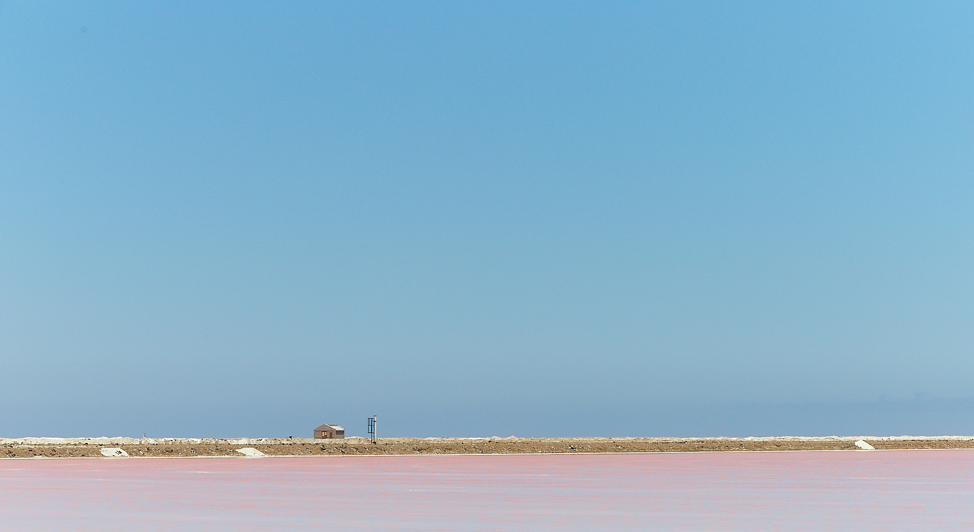 House on a pink lake