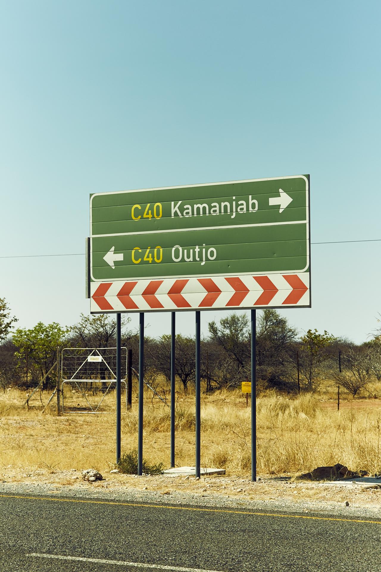 Outjo road sign