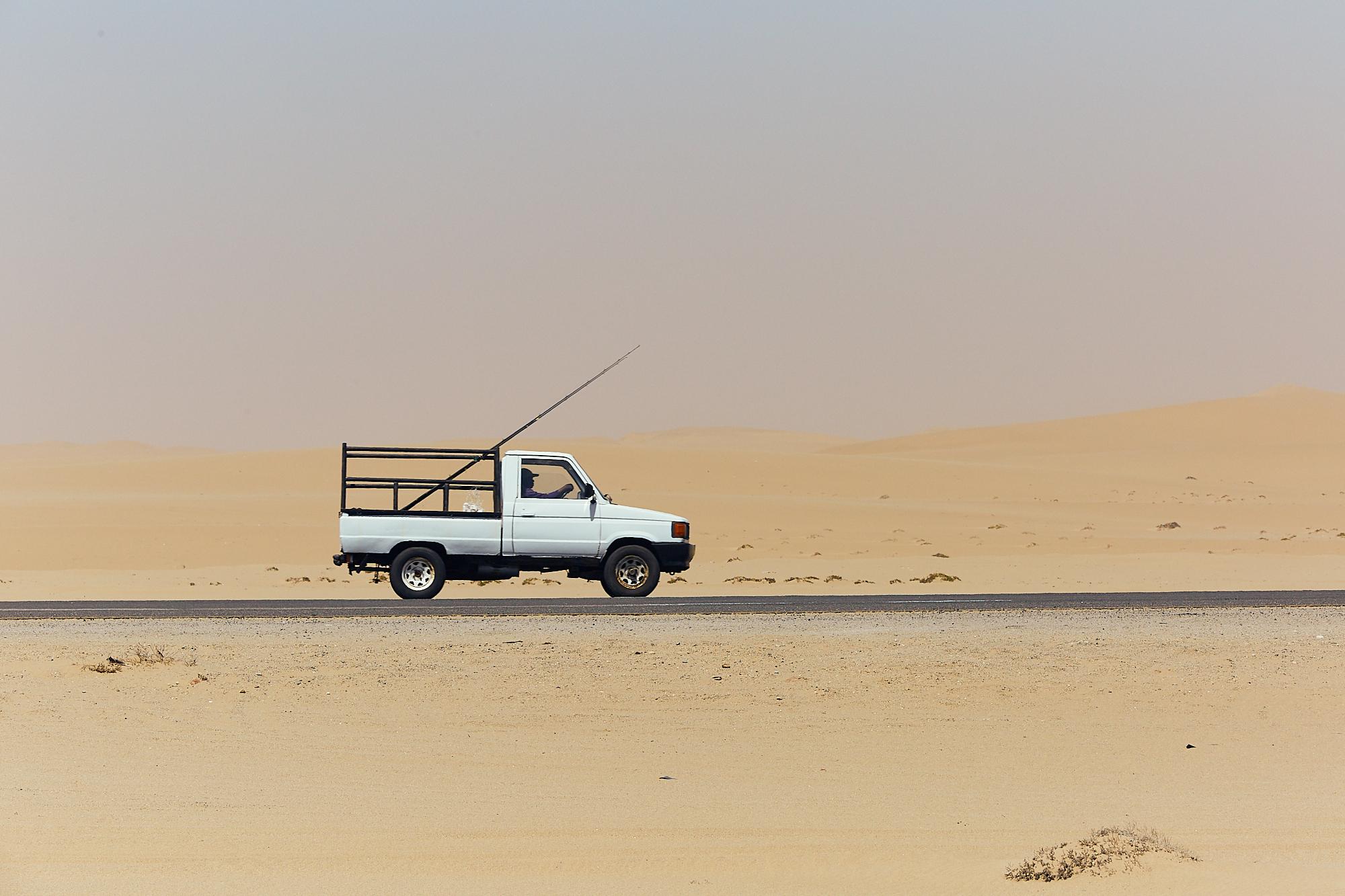 White van in the desert