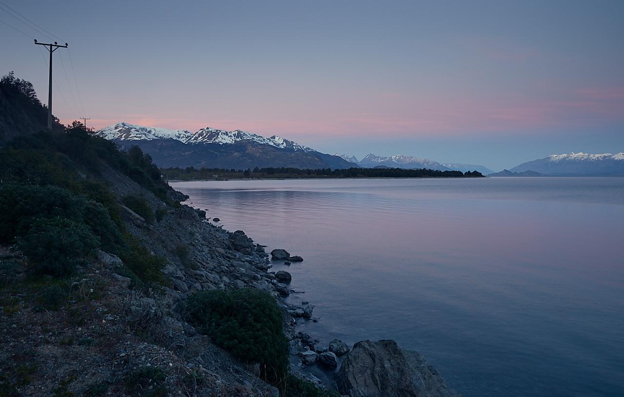Patagonian lake view dusk